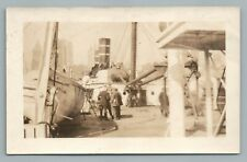 SS Fort Hamilton Ship Deck in NYC Harbor RPPC Antique Steamer Photo 1910s