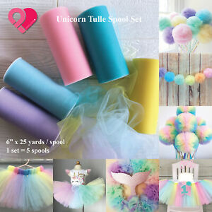 "6"" Tulle Spool Wedding Baby Party Favor Tutu Magic Unicorn Pastel Rainbow 25 yds"