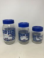 Vintage 1982 Carlton Glass Set Of Three (3) Blue Lid Geese Jars USA Kitchen