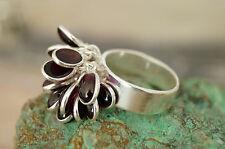 Puschelring Silberring 54 Granat Handarbeit Silber Ring Rot Stein Edel Puschel