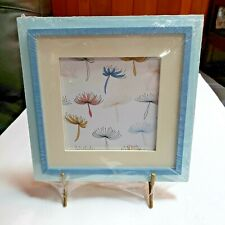 """Matted Dandelion picture (print) in Blue  Frame with Stand New 8"""" x 8"""""""