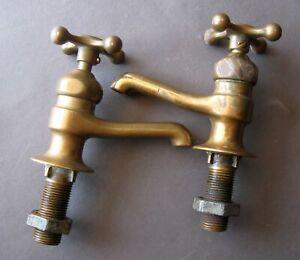 Genuine Original Antique CRANE solid brass sink faucets - Hot & Cold pair