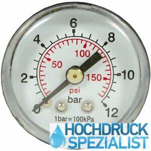 """Manometer Wasser 0-12 bar Ø 40 mm 1/8"""" Zoll Anschluss waagerecht hinten axial"""