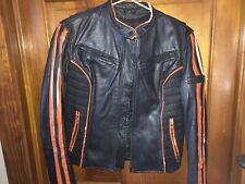 Woman's Black Leather Biker Jacket (Harley Patch)