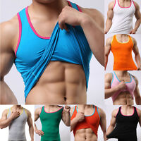 Men Summer Tops O-neck Elastic Sleeveless Tank Top Casual Sports Gym Muscle Vest