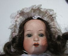 Antique Doll Heubach Bisque German Leather Body Teeth Gray Eyes Dimple 14""