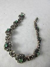 Altes Smaragd / 925 Silber Armband 8 Steine  filigrane Handarbeit Thailand 1970