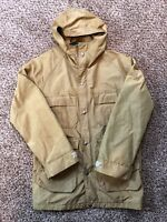 Vtg Woolrich 1527 Mens Beige Parka Rain Coat Jacket Lined Drawstring Size Small