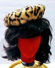 New listing Vintage 1960's 60's Faux Fur Leopard Print Ladies French Mod Beret Cap Hat Euc