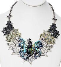 KIRKS FOLLY AVALON STEAMPUNK SPIDERELLA WEB NECKLACE silver ~ NEW RELEASE ~