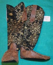 "Brown ""Tooled"" & Black Halloween Cowboy Boots 36"" My Size Barbie Doll MYBT71"
