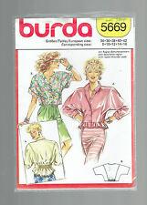 BURDA pattern 5669 TOP blouse jacket VINTAGE Sz 8 10 12 14 16 uncut unused 1980s