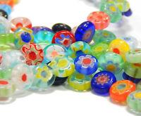 Millefiori Glasperlen 6mm Scheibe Mixfarbe mit Blume 1 strang für Schmuck D83G