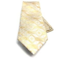 Men's Stacy Adams Tie Pocket Square Set Champagne Beige 100% Silk Hand Made