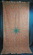 """ANTIQUE PAISLEY SHAWL 1860's INDIA LOOMED WOOL BLACK CENTER  128"""" x 62"""""""