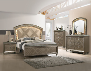 NEW Modern LED Queen King 5PC Champagne Gold Bedroom Set Furniture Bed/D/M/N/C