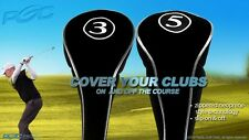 NEW HEAD COVERS GOLF CLUB DRIVERS BLACK FULL HEADCOVER COMPLETE # 3 5 WOODS SET