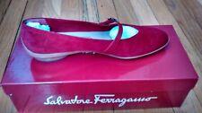 Salvatore Ferragamo 7B red suede Audrey flats + box & bag (retail $695)