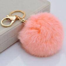 Christmas Key Ring Rabbit Fur Ball PomPom Phone Car Keychain Pendant Handbag