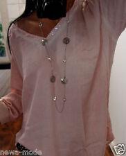 Bluse 42 44 Neu Pailletten Blogger Shirt Trend Rosa Vintage XL Jumper B23 Chic