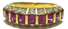18K YELLOW GOLD 1.80CT RUBY .56CT ROUND BRILLIANT DIAMOND COCKTAIL RING BAND