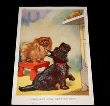 1933  SCOTTIE DOG & PEKINESE HOW ARE YOU GETTING ON POSTCARD