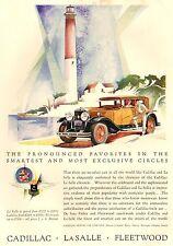 PUBBLICITA' 1929 CADILLAC LA SALLE FLEETWOOD FARO AUTO DETROIT LIGHTHOUSE LUSSO