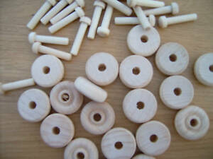 "10x Wooden toy wheels + axles. Wooden wheels. 25mm 1"""
