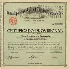 BANCO  HIPOTECARIO DE CREDITO TERRITORIAL MEXICANO MEXICO dated 1932