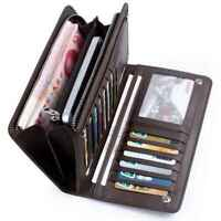 New Mens Checkbook Gifts Card Holder Leather Purse Coin Bag Bifold Wallet