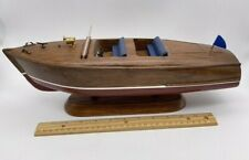 """16"""" Solid Wood Toy Boat Model Display Chris Craft Runabout Red Maroon Blue Seat"""