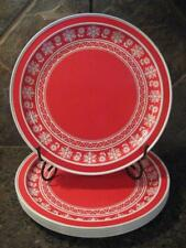 HALLMARK RED & WHITE LARGE METAL PLATES / CHARGERS - SIX