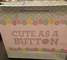 Lot of 4 Jumbo Gift Bag Baby Boy/Girl Multi Color Cute As A Button 15x13x4.7