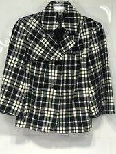 East 5th  Black/White Hounds Tooth Plaid Faux Wool Pea Coat Cape W/ Belt Small