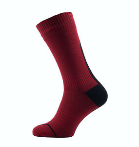 SealSkinz Road Thin Mid Hydrostop - Waterproof Socks - Red / Black