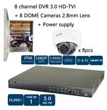 8CH HD-TVI DVR + 8 DOME CAMERA 1080P NIGHT VISION 2.8MM Lens + power supply CCTV
