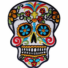 Embroidered Flower Skull Iron On Patch Sew On Embroidery Badge Skeleton Applique