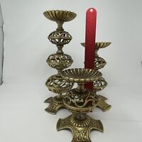 Vintage Ornate Brass Candlestick Column Pillar Candle Holders set of 3