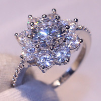 3Ct Round Cut Moissanite Flower Halo Engagement Ring Solid 14K White Gold Finish