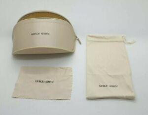 Giorgio Armani Sun/Glasses Case Gold + Cloth Pouch + Lens Cloth Gold