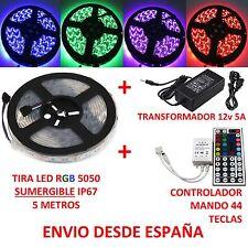Kit Tira Led RGB 5050 SUMERGIBLE IP67 + Controlador 44 Teclas +Transformador 5A