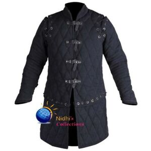 Gambeson Coat Aketon Jacket Medieval SCA LARP Thick Padded Full Length Sleeves