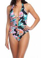 Trina Turk Tropic Wave plunge 1 piece swimsuit size 14 NEW