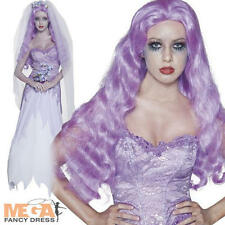 Long Lilac Wig Halloween Ghost Bride Witch Ladies Fancy Dress Costume Wig Acc