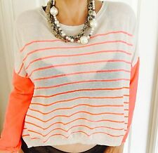 COUNTRY ROAD WOMENS TOP FINE KNIT LINEN VISCOSE STRIPED SZ L