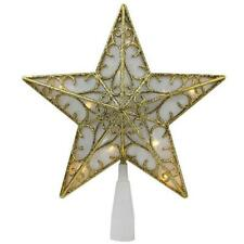 "9"" Gold and White Glittered Star Led Christmas Tree Topper - Warm White Lights"