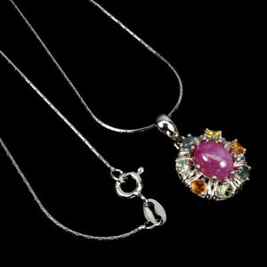 Oval Red Ruby 8x6mm Sapphire 14K White Gold Plate 925 Sterling Silver Necklace