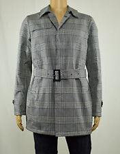 Herno Mens Navy Beige Checked Trench Coat EU 52 US 42