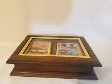 Vtg Spalding Executive Wooden Glass Top Storage Box 1907 Peugeot Playing Cards