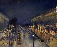 The Boulevard Montmartre Night, Paris Painting by Camille Pissarro Reproduction